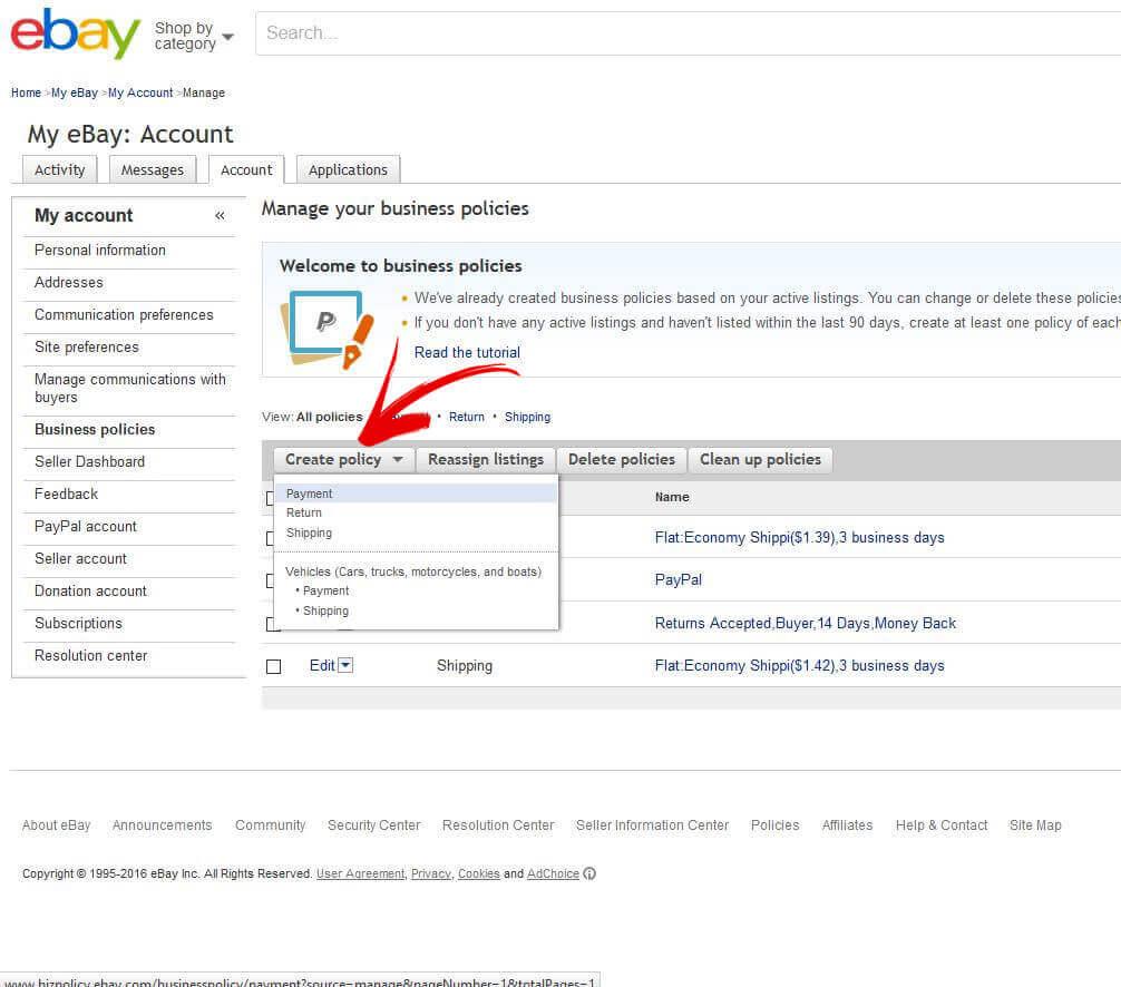 create ebay return policy