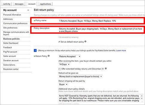eBay return policy title and description